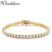 3mm 925 Sterling Silver Gold Color Round AAA CZ Ziron Tennis Bracelets For Women Pulseras Pulseira Bracelete Jewelry Girl Friend