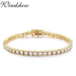 Image 1 - 3mm 925 Sterling Silver Gold Color Round AAA CZ Ziron Tennis Bracelets For Women Pulseras Pulseira Bracelete Jewelry Girl Friend