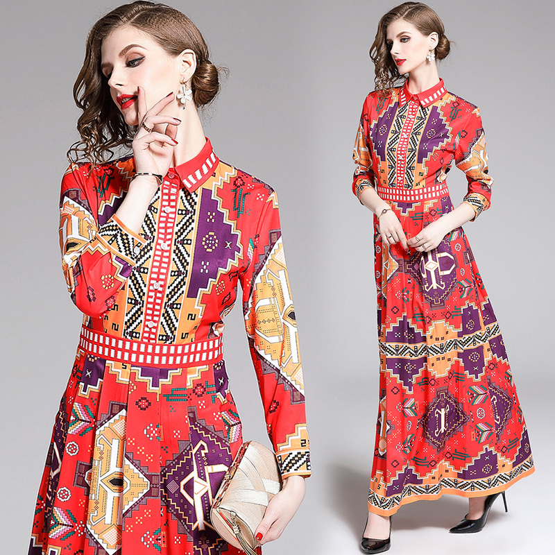 Image 2 - Banulin 2019 Summer Runway Elegant Floral Print Long Sleeve Long  Maxi Party Dress Womens Boho Vestidos Robe Femme B7226Dresses   -