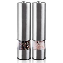 Электрическая мельница для соли и перца, автоматическая керамическая мельница с электронной настройкой вибрации (2 шт.), используется одной рукой