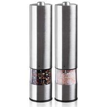 Elektryczna jednostka mielenia soli i pieprzu (2 opakowania) elektronicznie regulowany wibrator młynek ceramiczny automatyczny jednoręczny