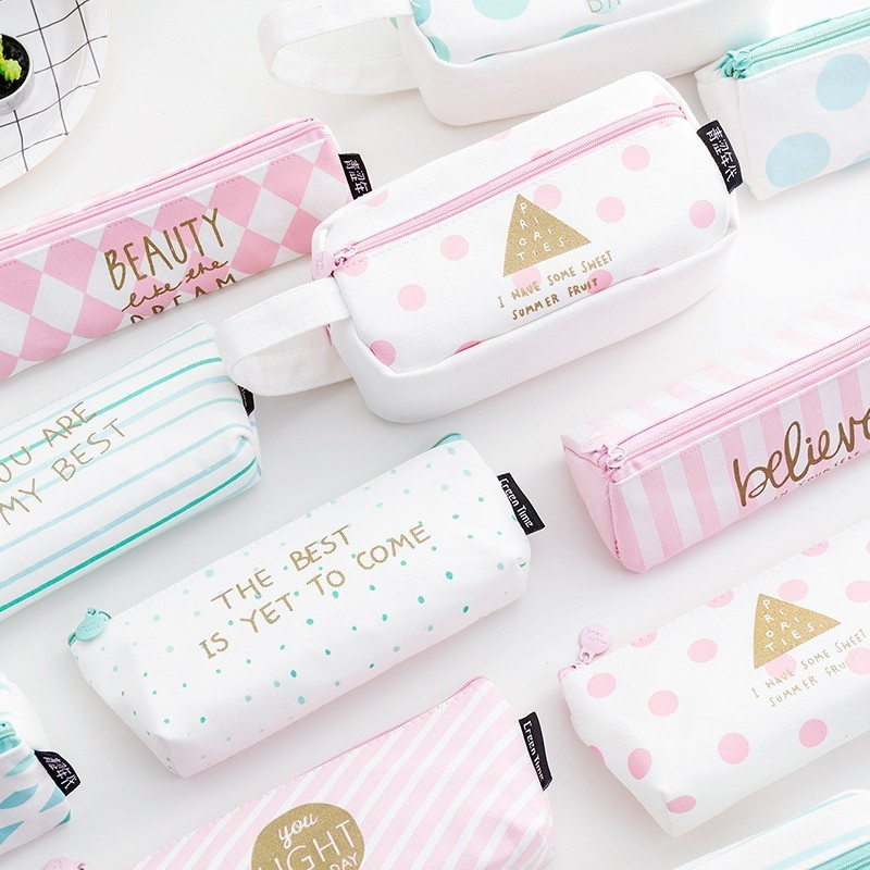 1 PC Kawaii Large Capacity Grid Canvas School Pencil Cases Creative Cute Pen Bag Box Pouch Office Stationery Supplies 04939