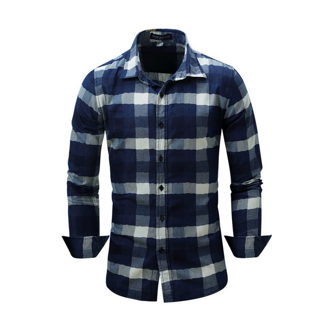 ab12d3684aeb Blue Plaid Long Sleeve Shirts Men 2019 Spring New Check Shirt Cotton Slim  Fit Casual Style