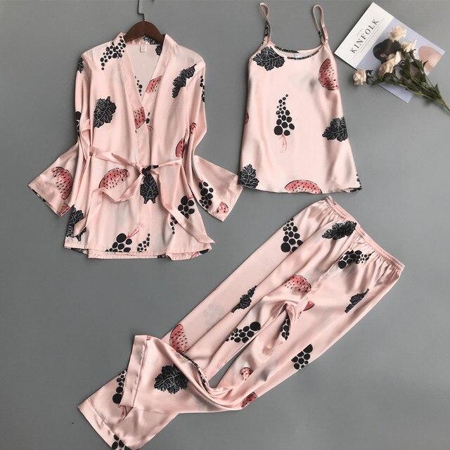7ccfcffe27 2018 Luxury Newest 3 PCS Women Pajamas Sets with Pants Sexy Pyjama Flower  Print Nightwear Silk Negligee Satin Sleepwear Pyjama