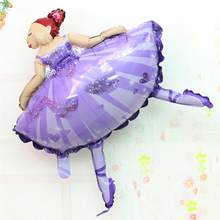 Dancer Foil Balloons Ballet Girl Mylar Balloon Lovely Kids Toy for Birthday Party Decoration(China)