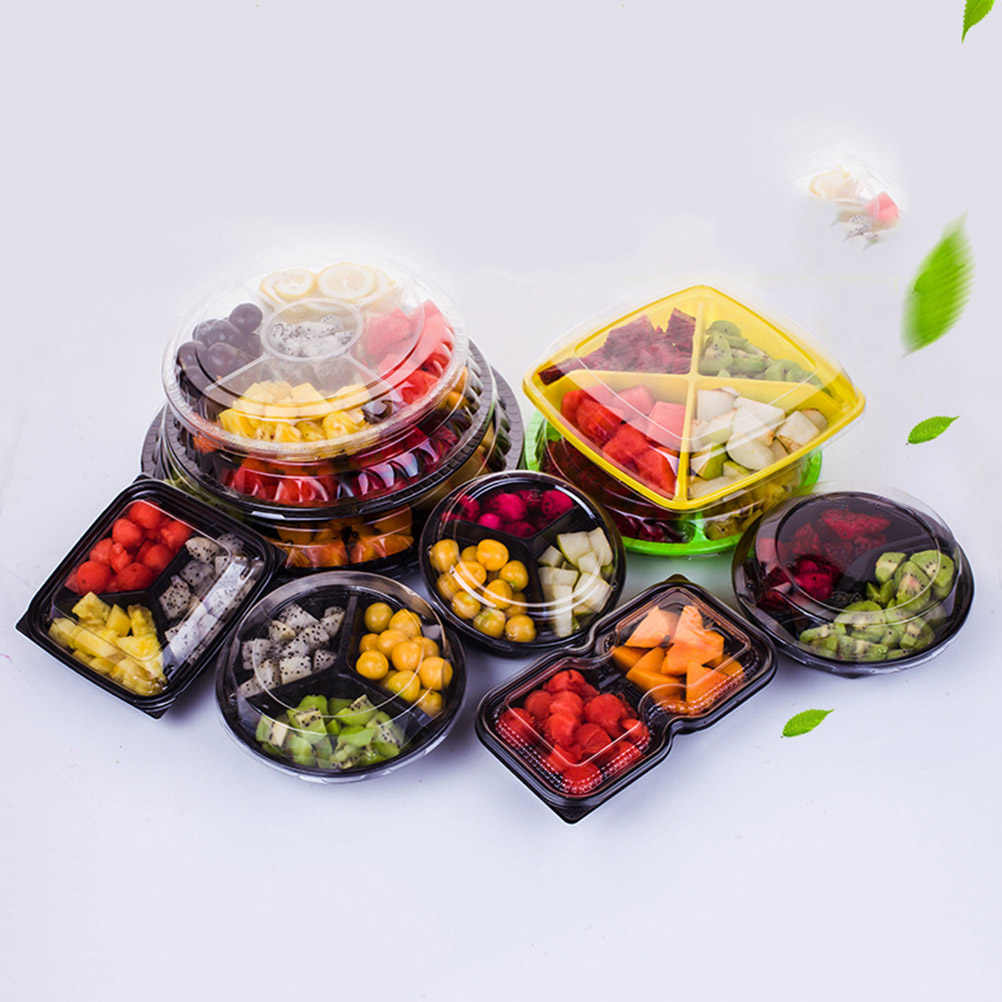 10PCS 5 Compartment Disposable Plastic Fruits Food Salad Storage Containers with Lids for Office Home School Restaurant