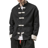 Kimono Jacket Men 2019 Men Cotton Jacket China Style Frog Closure Button Kongfu Coat Male Loose Parchwork Cardigan Overcoat 5XL