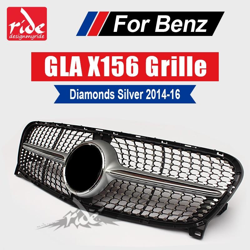 Para o Benz GLA-X156 Diamante Amortecedor Dianteiro Grille ABS Prata GLA180 GLA200 250 GLA45 AMG Grade Dianteira do logotipo sem central 2014 -2016