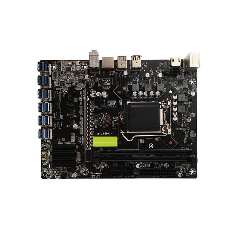 VKTECH B250 BTC carte mère LGA1151 CPU 2xDDR4 mémoire 12xUSB3. 0 SATA3 HDMI ordinateur de bureau carte mère Support 12 cartes graphiques