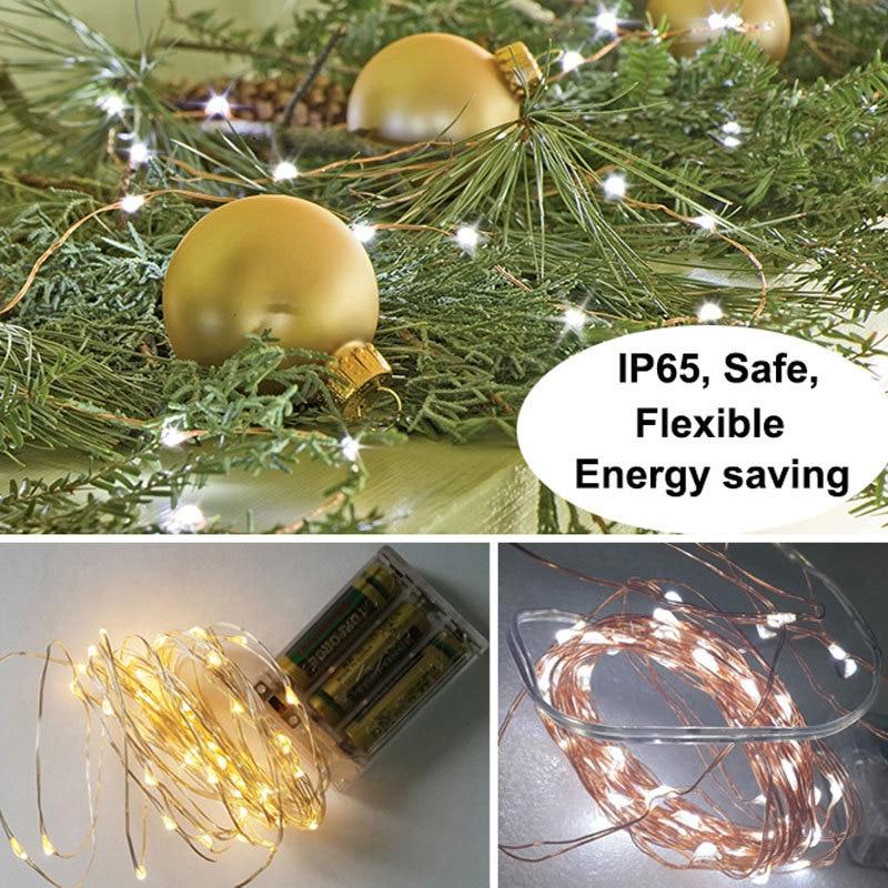 5m / 16.4ft LED koppar ljussträng med 3AA batterilådan fe lampor - Festlig belysning - Foto 2
