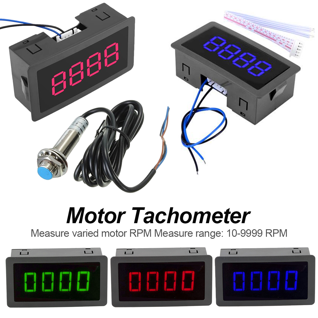4 Digit Tachometer RPM Speed Meter With Red Green Blue LED Hall Switch Proximity Switch Sensor Guage 10-9999 RPM