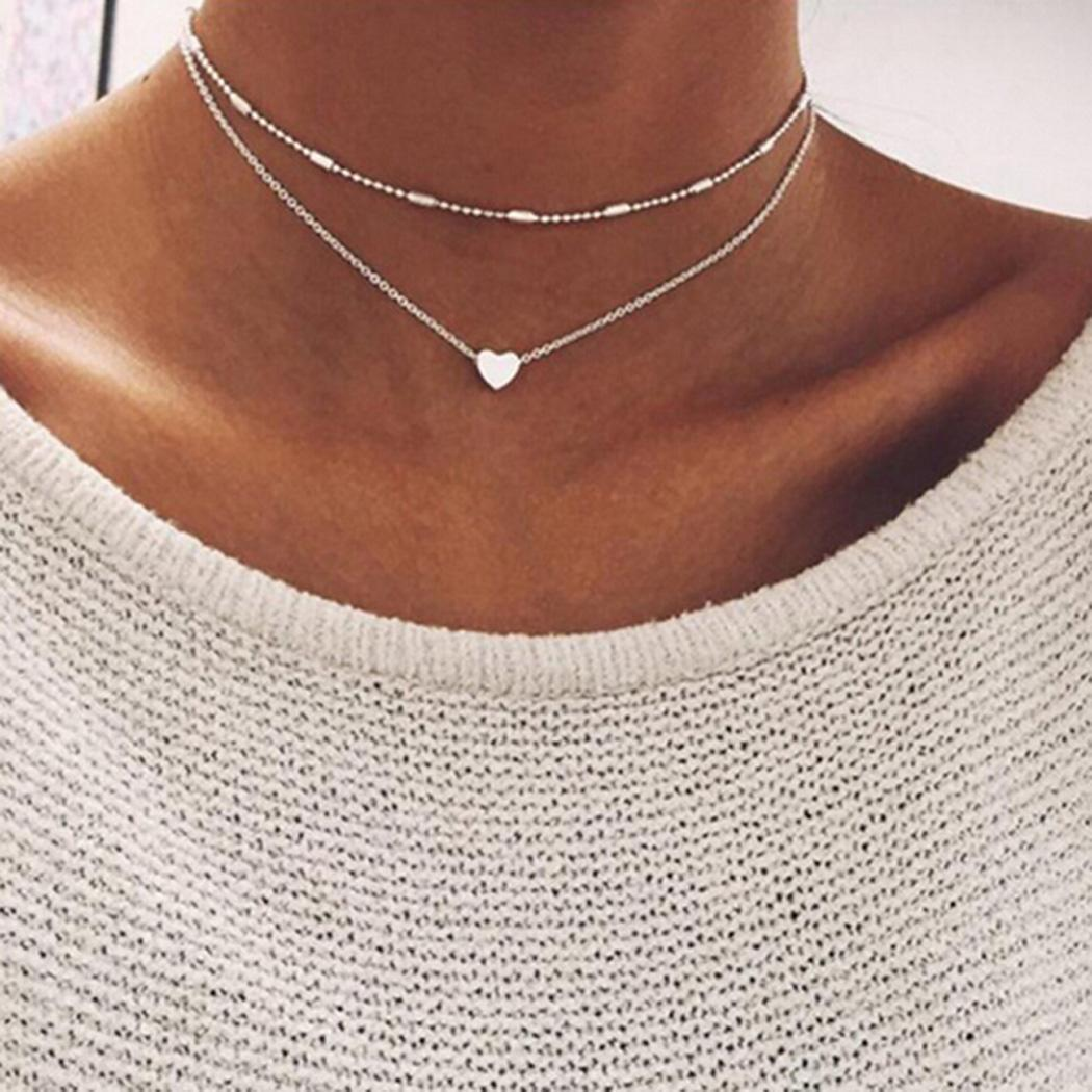 Heart Alloy Street Nacklace Casual etc Choker Beads Fashion Pendant Necklace Gift Women Multi-layer Party Club Heart