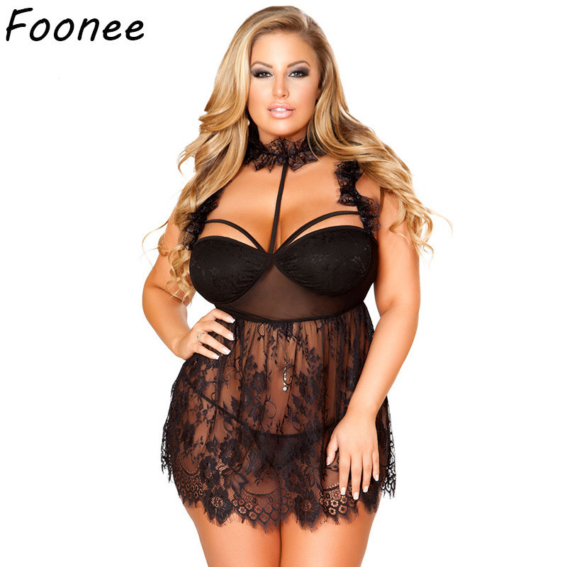 f89a2bf3ada Detail Feedback Questions about Oversized Sexy Lace Lingerie Plus Size  Women Erotic Babydoll Costume Transparent Mesh Halter Dress Hollow Out  Underwear ...