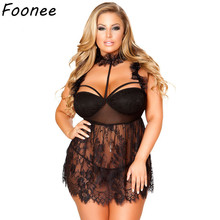 Oversized Sexy Lace Lingerie Plus Size Women Erotic Babydoll Costume Transparent Mesh Halter Dress Hollow Out Underwear Lenceria