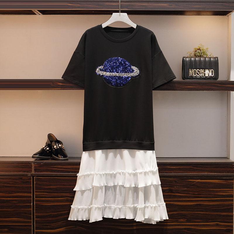 XL-4XL grande taille femmes tenue décontractée été 2019 à manches courtes Sequin broderie coton Patchwork lâche mousseline de soie à volants robes