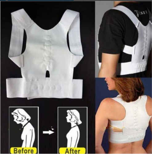 여성 남성 티셔츠 슬림 피트 조절 붕대 자세 교정기 솔리드 블랙 화이트