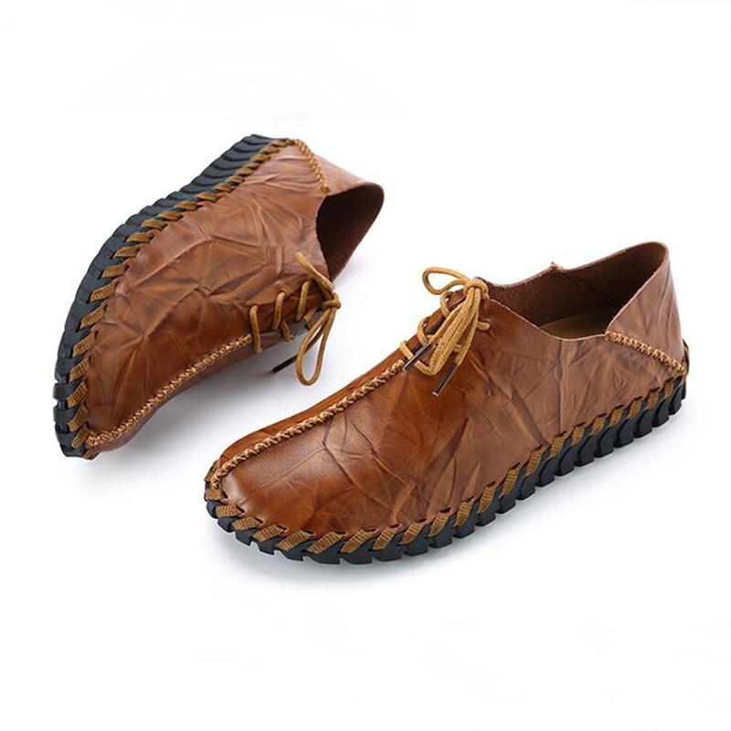 2018 Neue Handgemachte Herren Loafer Schuhe Hohe Qualität Echtes Leder Männer Fahren Schuhe Atmungsaktive Herren Mokassins Schuhe Entlastung Von Hitze Und Sonnenstich