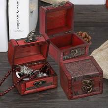 Vintage Square Jewelry Storage Box Handmade Makeup Organizer Box Ornaments Wooden Decorative Jewelry Holder Display Case(China)