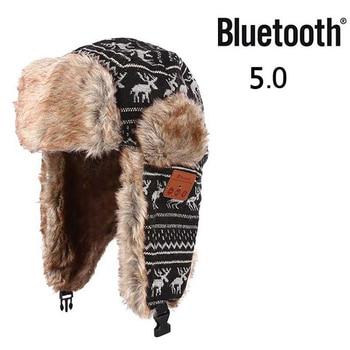 Auriculares Bluetooth bombardero sombrero de los hombres de las mujeres de lana  gruesa de invierno cálido gorras de piel con orejeras pasamontañas ruso ... d58dc184a68