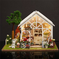 3D Wooden Miniature Dollhouse Greenhouse Flower Shop Toys House Kids Simulation Furniture Assemble Doll Home Toys Lighting Gifts
