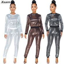 silver sequin glitter casual 2 piece set women autumn winter long sleeve womens clothing two top and pants plus size