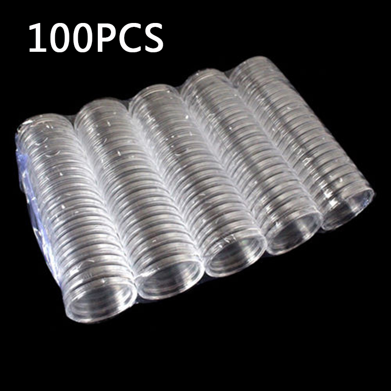 100pcs Plastic Coin Box Clear Round Capsule Coin Boxes Collection Holder Storage Case Coin Collection Protector For 40mm Coins