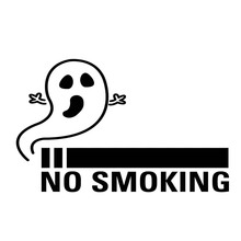 No Smoking Ghost Vinyl Decal Sticker Window Anti-smoking Fun Personality Decorative Accessories Packaging
