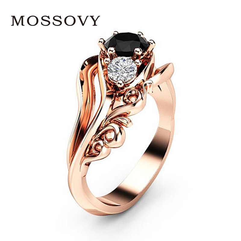 Mossovy Flower Rose Gold Wedding Rings for Women Black Rhinestone  Engagement Zircon Inlaid With Hollow Ring for Female Jewelry 853bb4c9e9aa