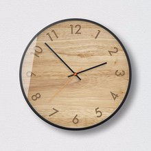 New 3D Wall Clock Simulation Wood Ultra-quiet Movement Metal Frame Clock 12inch Precise Sweep Wall Clock Large Size Home Decor