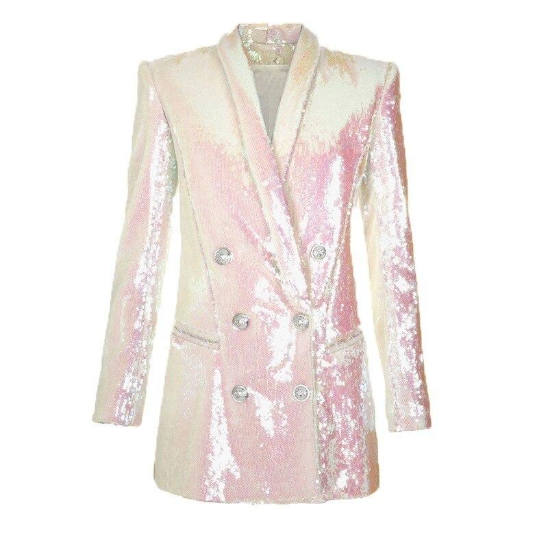 Manches V 2019 Manteau Femme Printemps À Taille White Nouveau Blazer E321 Femmes Longues Col Paillettes Costume Mince Élégante De Lourd Grande Mode wpBY8qq