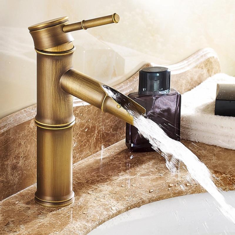 Ванная комната кран латунные краны Роскошные водопроводной горячей и холодной воды с двумя выхлопные трубы для автомобиля высокий бамбук