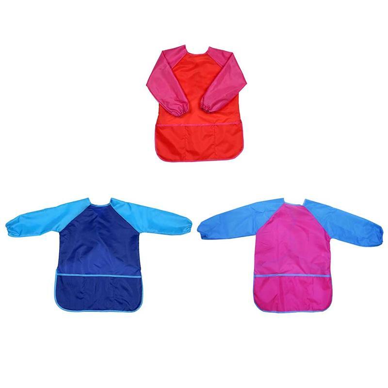 3 Stuks Baby Anti-dressing Schorten Plastic Waterdichte Fel Wasbaar Lunch Voeden Schilderij Tekening Speelgoed Voor Kinderen Peuters
