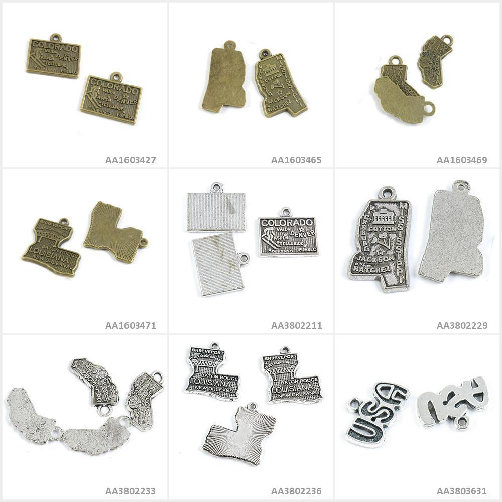 Antique Bronze Silver Tone Jewelry Charms USA Tag Signs Louisiana Map California Mississippi Colorado Bracelet Pendant Necklace(China)