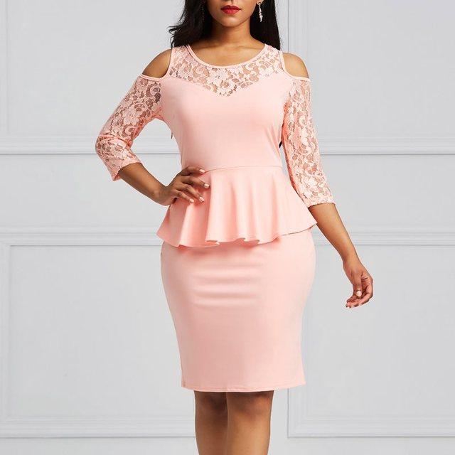 Clocolor Women Pink Dress Elegant Office Ladies Cold Shoulder ...