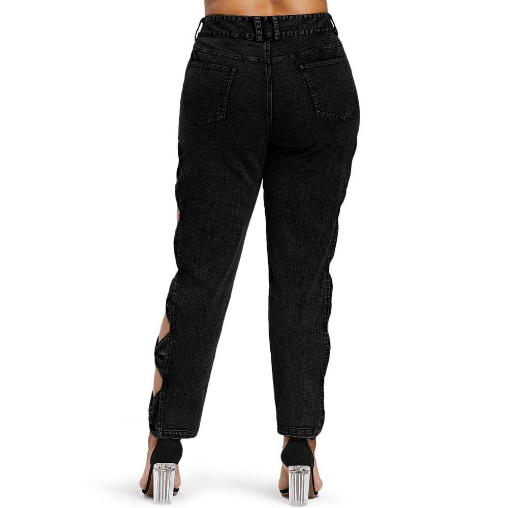 960bb8eda61 Sexy Hollow Out Pencil Denim Bow Black Ripped Jeans - Turnt Up Boutique