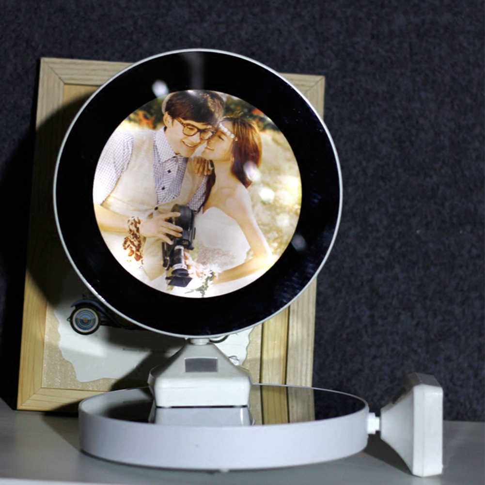 Creative LED Mirror Table Lamp with Photo Frame Desktop Decoration Multifunctional LED Makeup Mirror table decoration home room
