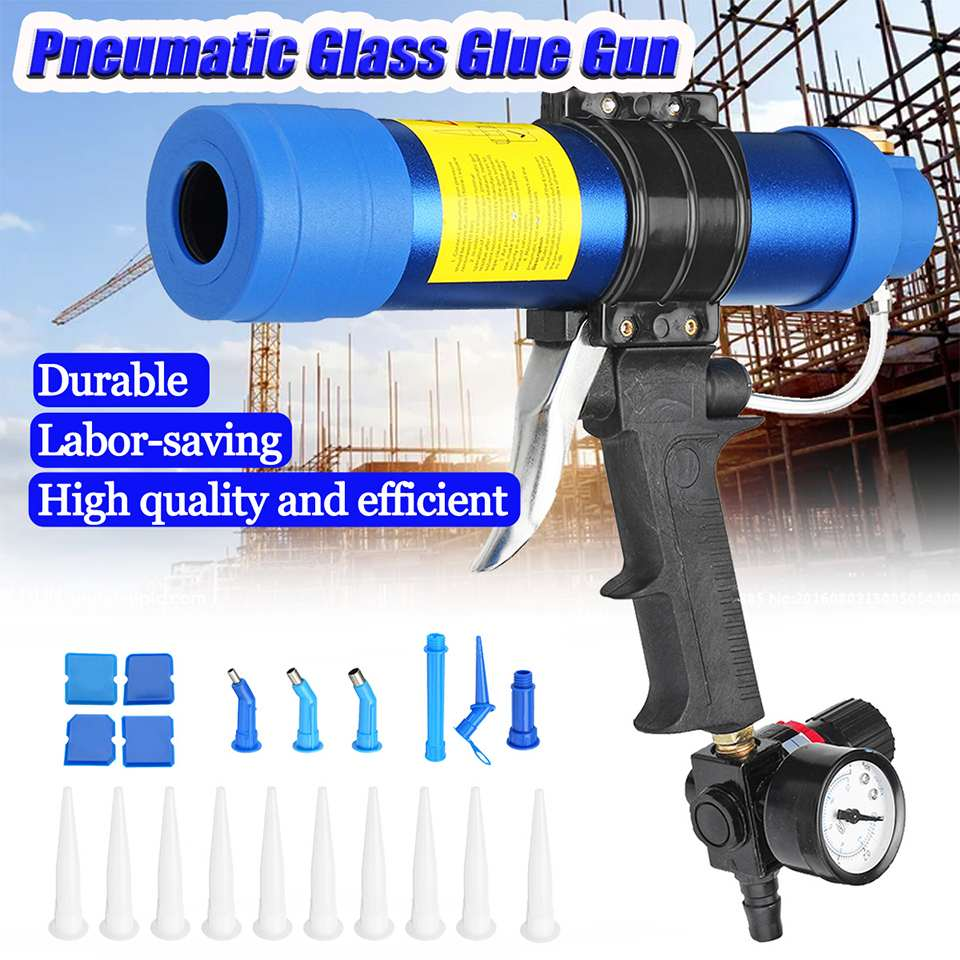310ML Air Caulking Gun/ Pneumatic Cartridge Dispenser Silicon Sealant Applicator Glass Gluing Tool Construction Caulking Gun/