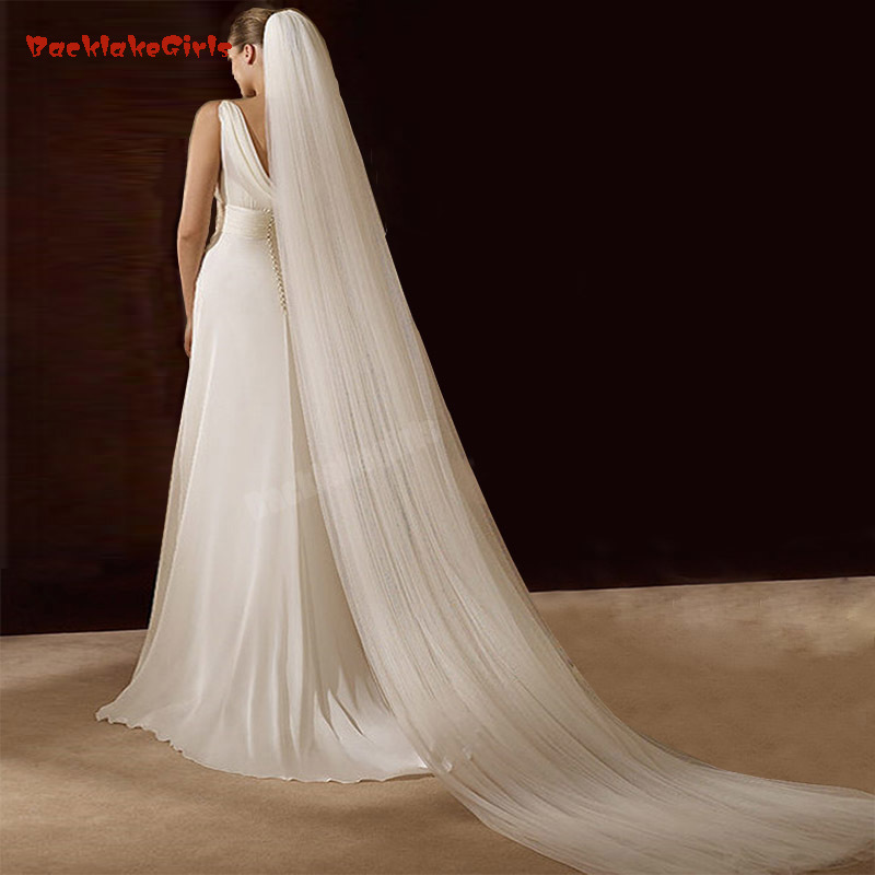 Bridal Veil Velos De Novia Ivory Wedding Veil Brief Veu De Noiva 3 Meter  Two Layer Longo Voile Mariage Wedding Veils Long