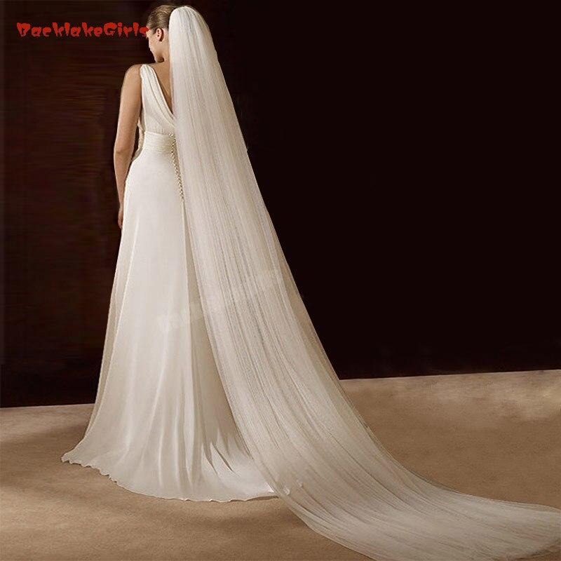 Véu de noiva véu de novia marfim breve veu de noiva 3 metro dois camada longo voile mariage casamento véus longos
