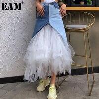 [EAM] 2019 New Spring Summer High Elastic Waist Blue Hit Color Mesh Split Temperament Half body Skirt Women Fashion Tide JT677