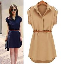 Summer Women Chiffon Dress Casual Chiffon Short-sleeved Loose Mini Dres