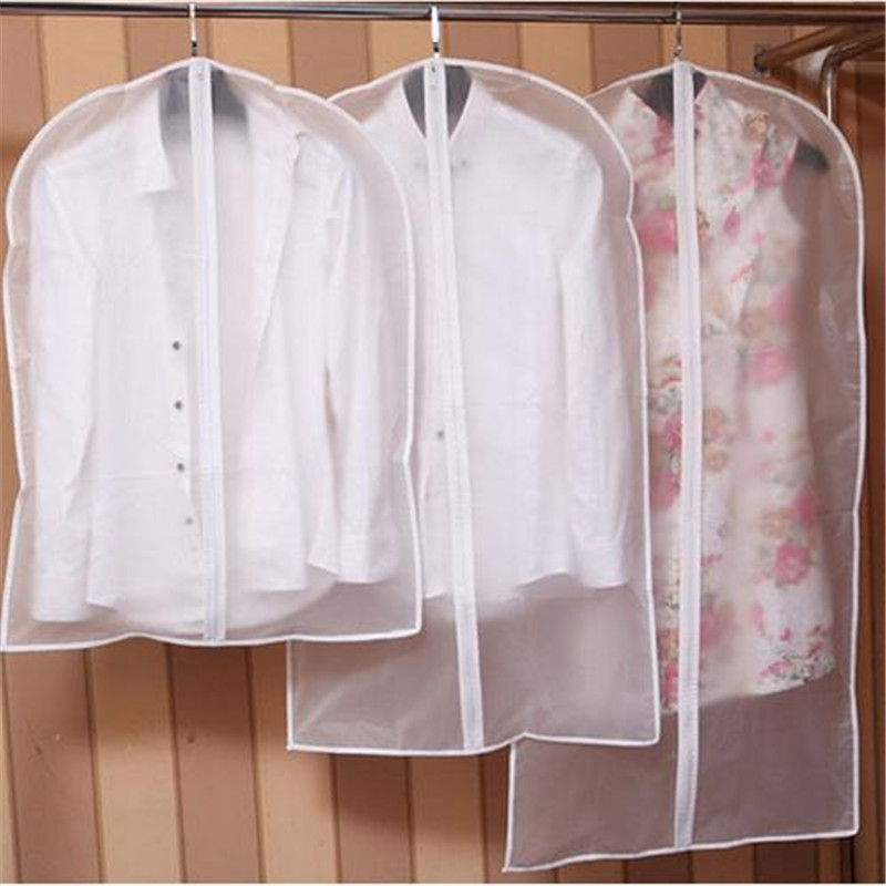 Hot Clothes Hanging Garment  Dress Clothes Suit Coat Dust Cover Home Storage Bag Pouch Case Organizer Wardrobe Hanging Clothing(China)