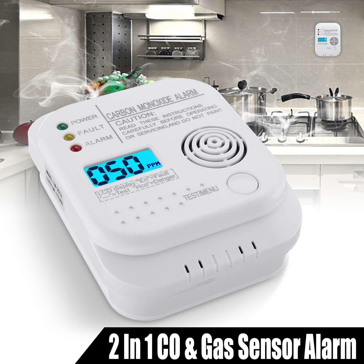 2019 NEW CO Gas Sensor Alarm Detectors LCD Digital Carbon Monoxide Alarm Detector Independent Home Security Sensor Warning Tool