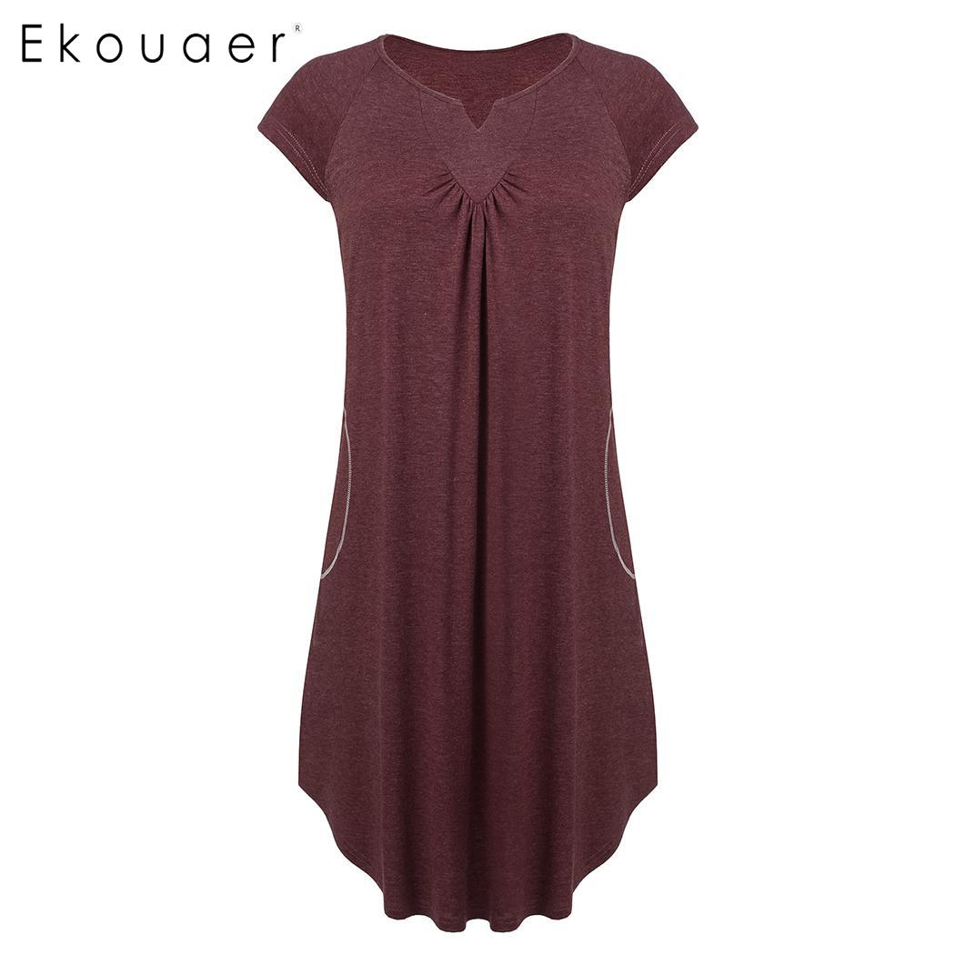 Ekouaer Plus Size Summer Sleepwear Dress Women Nightdress Pleated V-Neck Short Sleeve Loose   Nightgown   Female   Sleepshirts   XL-5XL