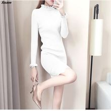Casual Turtleneck Long Knitted Sweater Dress Women Cotton Slim Bodycon Dress Pullover Female Autumn Winter Lace Dresses Xnxee female autumn winter dress 2017 turtleneck long knitted sweater vestidos women slim bodycon dress casual pullover ws4716c