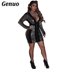 Genuo Sequins Lace Velvet Patchwork Bodycon Dress Sexy Deep V Neck Long Sleeve Bandage Mini Night Club Party Dresses Outfits