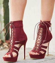 Sexy Burgundy Lace-up Platform Ankle Boots Peep Toe Cut-out High Stiletto Boots Plus Size Gladiator Sandals Boots Shoes Women plus size cut out lace trim camisole