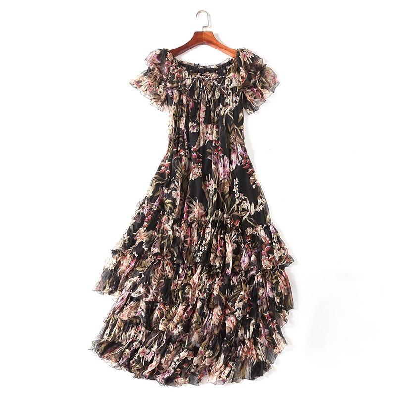 TWOTWINSTYLE พิมพ์ปิดชุดชายหาดไหล่ Slash คอสั้นแขนเสื้ออสมมาตร Midi Dresses หญิง 2019 ฤดูใบไม้ผลิ-ใน ชุดเดรส จาก เสื้อผ้าสตรี บน   3