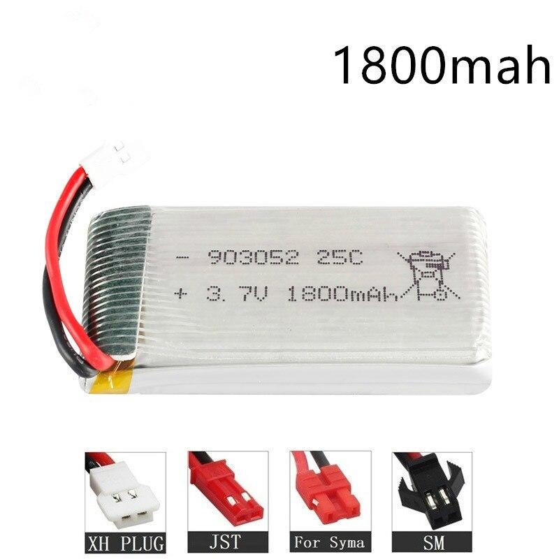 1800mAh 3.7v Lipo Battery For KY601S SYMA X5 X5S X5C X5SC X5SH X5SW M18 H5P HQ898  H11D H11C T64 T04 T05 F28 F29 T56 T57 Battery