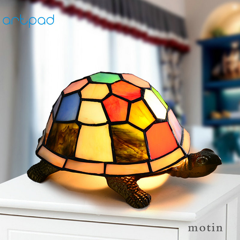 Artpad Mediterranean Style Butterfly Owl Turtle Night Light Baby Kids Bedroom Bedside Lighting Stained Glass LED